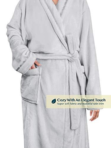 Women Fleece Robe with Satin Trim Luxurious Soft Plush Bathrobe,Light Grey,S/M