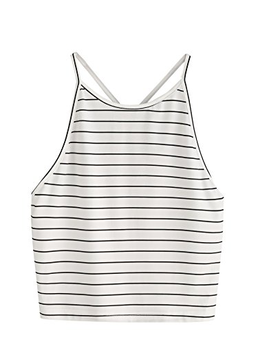 SweatyRocks Women's Sleeveless Striped Halter Cami Tank Tops Backless Crop Tops (Large, White)