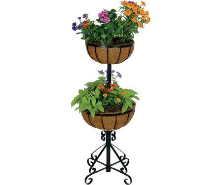 Gardman R525 à Deux étages Forge Pot de Fleurs avec Coco Sacs, Noir, 35,6 cm de Long x 35,6 cm de Large x 88,9 cm Haute