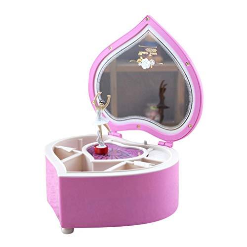 WYH Regalo Forma de corazón Bailarina Bailarina Caja de música Caja de joyería plástica Carrusel Manivela Caja de música Mecanismo Regalo for niñas Melodioso (Color : Pink)