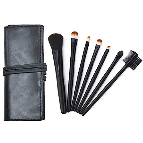Maquillage Pinceaux, Outils De Beauté Pinceau De Maquillage Portable Pinceau De Maquillage Professionnel 7Pcs Cosmétiques Pour La Fondation Kabuki Fard À Paupières Correcteur,Noir