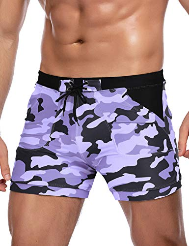 COOFANDY Men's Swimwear Gray Square Leg Swimsuit Beach Swimming Trunks
