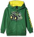 John Deere Boys' Little Fleece Hoody Zip Front, Green Tractor, 5