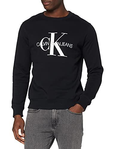Calvin Klein Iconic Monogram Crewneck Felpa, Nero (CK Black Bae), X-Small Uomo
