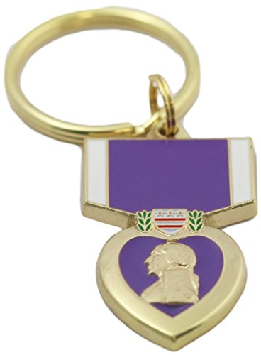 EEC, Inc. Purple Heart Key Ring Military Key Chains Collectibles Gifts Men Women Veterans, Multicoloured, 1-5/8' by 1'
