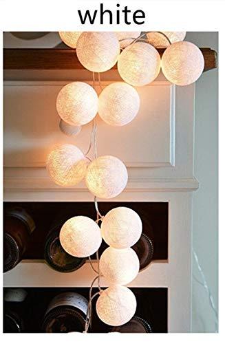 Decoraciones navideñas Bolas de algodón Guirnaldas de Luces LED Guirnaldas Luces de Hadas Luces navideñas con PilasDecoración para Bodas - H-White, 3m 20 Bolas