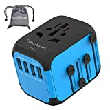 CocoMocart Universal Travel Adapter, All-in-one Worldwide Travel Charger Travel Socket, International Power Wall Charger AC Plug Adaptor with 4 USB Ports Multi-Nation Travel Accessories