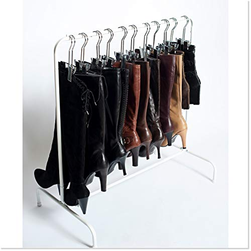 Boot Organizer: The Boot Rack Garment & Boot Storage- Fits in Most Closets (The Boot Rack with 6 Silver Hangers)