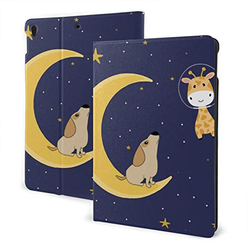Compatible with Ipad Air3 10.5 Ipad Case Apple Generation Cute Dog On Moon Screen Protector Mini Case 2020 Shockproof Full Protection Standing Cover Slim 360 Degree Rotating Auto Wake/Sleep