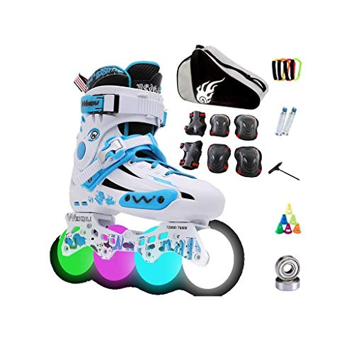 LBX Adult Outdoor Combo Inline Skates, Women Recreational Inline Skates, Inline Skates with Bright Wheels Youth Gift Black Blue and Green