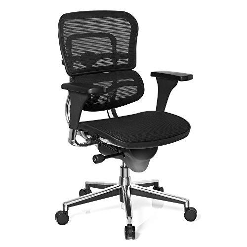 hjh OFFICE 652984 silla de oficina ERGOHUMAN BASE tejido de malla negro, amplios ajustes, sólido aluminio pulido, ergonómico
