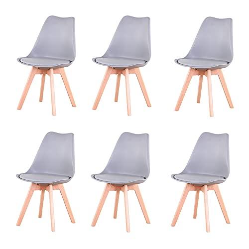 GrandCA Set di 4/6 sedie, sedia da pranzo, sedia in stile nordico, adatta per soggiorno, sala da pranzo (Grigio-6)