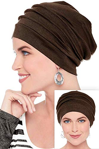 Headcovers Unlimited Slouchy Snood-Caps for Women with Chemo Cancer Hair Loss (Brown)