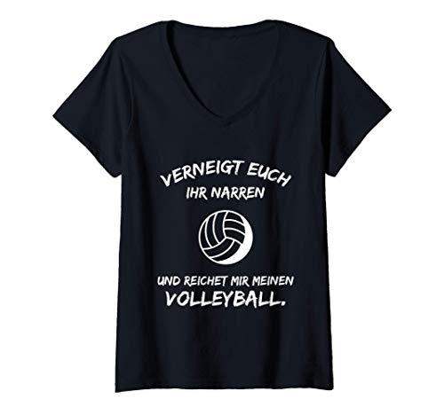 Damen Volleyball Spruch Lustig Beachvolleyball Aufschlag Trikot T-Shirt mit V-Ausschnitt
