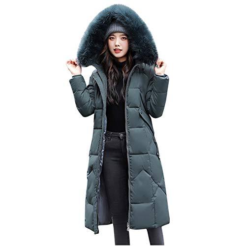 ATRISE Womens Winter Jacket Warm Overcoat Oversize Slim Fur-Collar Zipper Thicker Outwear Long,Plus Size Coats Parka Green