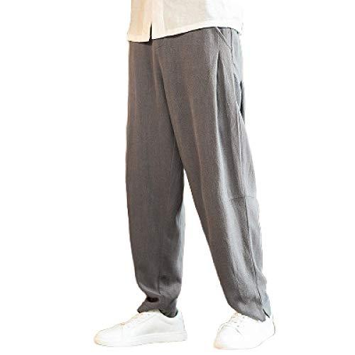 Pantalones harén Retro de Color sólido para Hombre, Cintura Media, Holgados, Holgados, Moda Informal, Pantalones clásicos Simples, Todos los tamaños de Cintura XL
