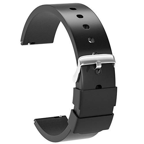 Ullchro Correa Reloj Recambios Correa Relojes Caucho Suave Flexible Hombre Mujer - 14,16, 18, 20, 22, 24mm Silicona Correa Reloj con Hebilla de Acero Inoxidable (22mm, Negro)