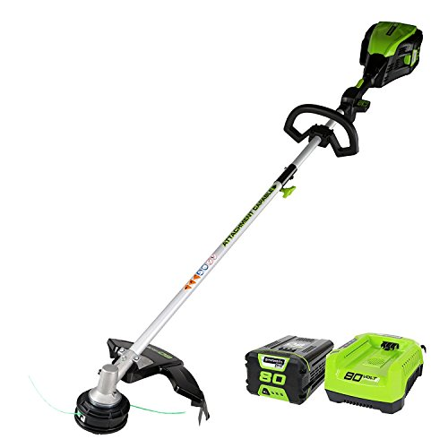 Save %17 Now! Greenworks 80V Cordless String Trimmer (Attachment Capable), 2.0Ah Battery & Charger I...