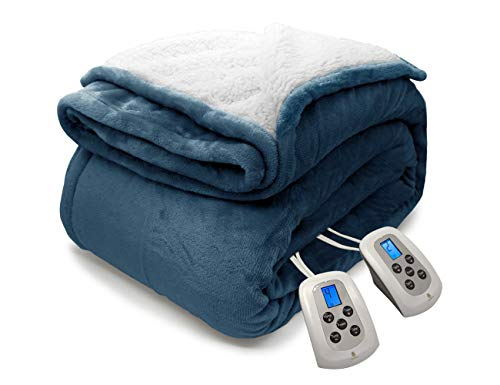 MARQUESS Heated Blanket Micro Plush Sherpa and Reversible Flannel Washable Comfortable Electric Throw Blanket with 4 Heat Settings/Safety 12 Hours Auto-Off Dual Controllers(Navy, Queen)