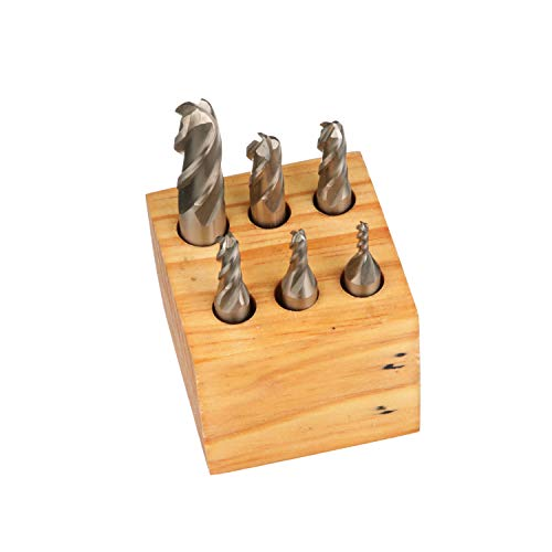 HHIP 8001-0007 6 Piece High Speed Steel M2 Ball Nose End Mill Set, 4-Flute, 1/8