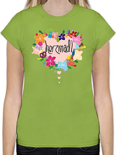 Oktoberfest Damen - Herzmadl - XXL - Hellgrün - Shirt Dirndl Damen - L191 - Tailliertes Tshirt für Damen und Frauen T-Shirt