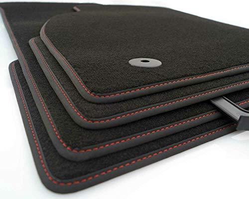 kh Teile Fußmatten Alhambra II 2 7N Original Premium Qualität Highline Automatten Tuning Velours schwarz, Ziernaht Rot