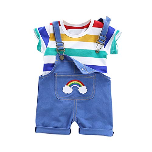 Zegeey Unisex MäDchen Jungen Streifen Tops T-Shirt Blusen Kurze Outfits Latzhose SetBekleidungssets Geburtstag Geschenk(Blau,90-100cm)