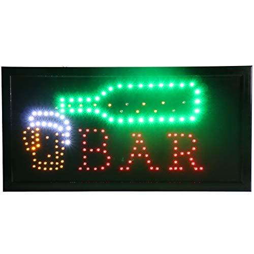 CHENXI Neuen animierten Bar/Bier/Wein/Whisky Neon-LED-Store Schild Open 48,3x 25,4cm (48x 25cm) auf aus-Schalter + Kette Zum Aufhängen Viele Styles Bar Beer Pub Modern 48 X 25 cm Y