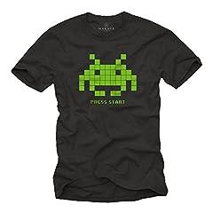 MAKAYA Regalos Frikis - Old School Gamer T-Shirt Space Invaders