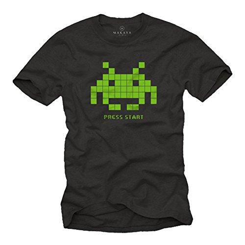 MAKAYA Retro Gamer T-Shirt Herren - Space Invaders - Nerd Geschenke für Männer schwarz XXXL