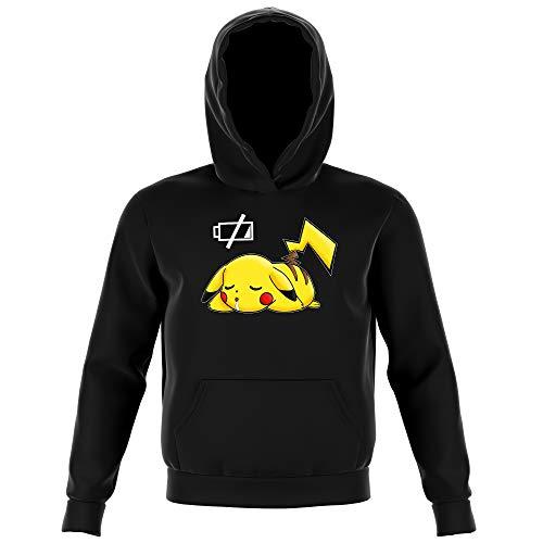 Okiwoki Sweat-Shirt à Capuche Enfant Noir Parodie Pokémon - Pikachu - Batterie à Plat ! (Sweatshirt de qualité Premium de Taille 9-10 Ans - imprimé en France)