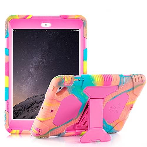 case up ipad 3 protection cases ZSI iPad Mini Case iPad Mini 2 Case iPad Mini 3 Case with Stand Shockproof Protective Case Kids Case for iPad Mini 1 2 3-Pink
