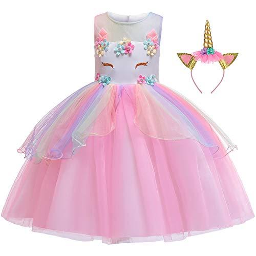 LZH Mädchen Einhorn Party Kleid Blume Rüschen Cosplay Geburtstag Prinzessin Kleid, 621-rosa, 150