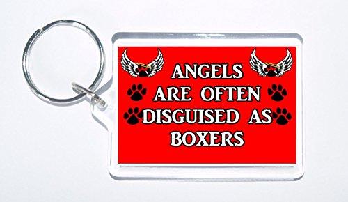 Ángeles están a menudo disfrazados de boxeadores, llavero de perro novedad, regalo ideal para cumpleaños/Navidad