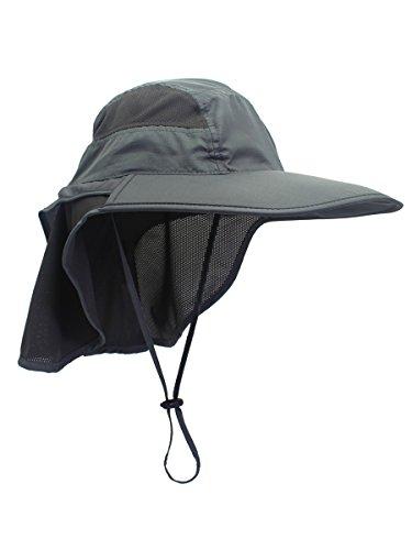 Unisex Gorra de Safari con Extra Largo Protector de Nuca 12cm Gran Borde para Actividades al Aire Libre Sol Protección UV - Gris Oscuro