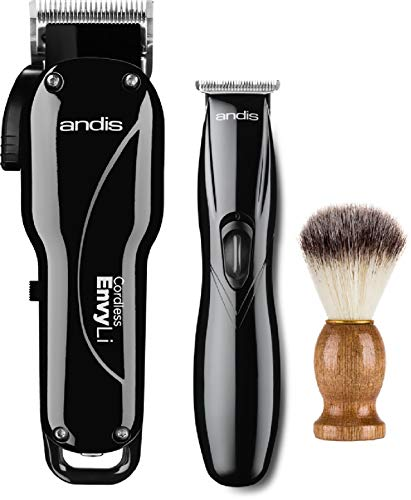 Andis Professional Cordless Fade Combo, Envy Lithium-Ion High-speed Adjustable Blade Clipper - Slimline Pro Li Cordless T-Blade Trimmer (75020) - Bundled with KEPSE Neck Duster