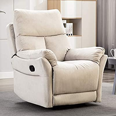ANJ Manual Fabric Recliner Chair, Living Room Reclining Chair Soft with Overstuffed Armrest and Back