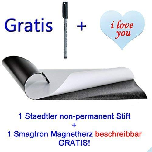 Eisenfolie - Ferrofolie selbstklebend DIN A2-0,4mm Stark - 420mm x 594mm x 0,4mm selbstklebend 1 non-permanent Stift + 1 Magnetherz beschreibbar Gratis!!