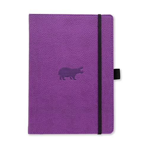Dingbats Wildlife Dotted Hardcover Notebook - PU Leather, Perforated 100gsm Ink-Proof Paper, Pocket, Elastic Closure, Pen Holder, Bookmark (Purple Hippo, Medium A5+ (6.3 x 8.5))
