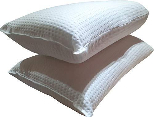 Par de almohadas Relax Top de fibra de poliéster 3D, altura 19 cm, densidad media, acabado en plata safe, antibacterias, transpirable, antiácaros y antiestático.