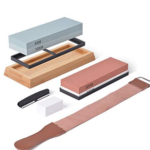 Whetstone Knife Sharpening Stone Set 4 Side Grit - 400/1000 & 3000/8000 Safe Knife Sharpeners Including Non Slip Bamboo Base, Flatting Stone, Angle Guide and Leather Strop HG553