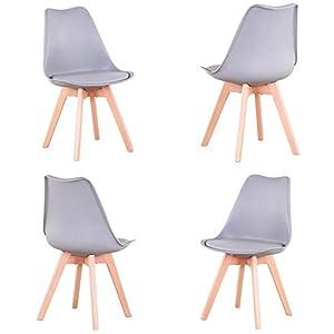 Questa sedia in stile nordico non è solo bella nell'aspetto, ma anche di buona qualità, è composta da gambe in plastica PP e legno di faggio. Il sedile dal design ergonomico consente di rilassare completamente il corpo quando si è seduti. Facile da m...