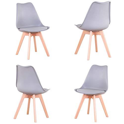 GrandCA Set di 4 sedie, Sedia da Pranzo, Sedia a Tulipano in Stile Nordico, Adatta per Soggiorno, Sala da Pranzo (Grigio)