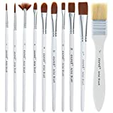 Paint Brushes Set for Acrylic Painting, 10 Pieces Includes a Carrying Case, Great for Watercolor, Acrylic, Oil and Gouache Painting - Paintbrushes for Artists, Adults & Kids
