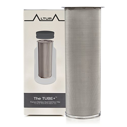 The TUBE+: Cold Brew Coffee Maker and Tea Infuser Kit. Premium Stainless Steel Mesh Filter Designed to Fit 64 Oz. Wide Mouth Ball Mason Jar Brew Guide and Recipe eBook Included