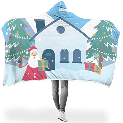 O2ECH-8 vleermuisdeken Kerstmis Santa Claus patroon gedrukt lichtgewicht kantoor capuchon robe - huis extra groot past vrouwen gebruiken