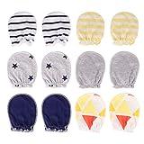EXCEART 6 Paar Baby Baumwolle Kratzfäustlinge Neugeborene Säuglinge Bio Handschuhe für 0-6 Monate Jungen und Mädchen