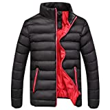 Mens Down Jacket with Hood,Men's Casual Warm Winter Slim Fit Zipper Stand Collar Coat Outwear Lightweight Outerwear