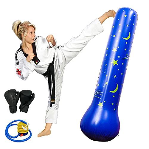 LANGTAOSHA Saco De Boxeo Inflable para Niños De 160 Cm, Saco De Boxeo Independiente para Patadas, Saco De Rebote Inmediato, Adolescentes, Fitness, Práctica De Karate, Taekwondo, MMA, Azul