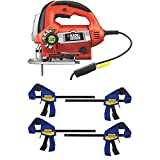 BLACK+DECKER Jig Saw, 6.0-Amp with IRWIN QUICK-GRIP Clamps, One-Handed, Mini Bar, 6-Inch, 4-Pack (JS670V & 1964758)